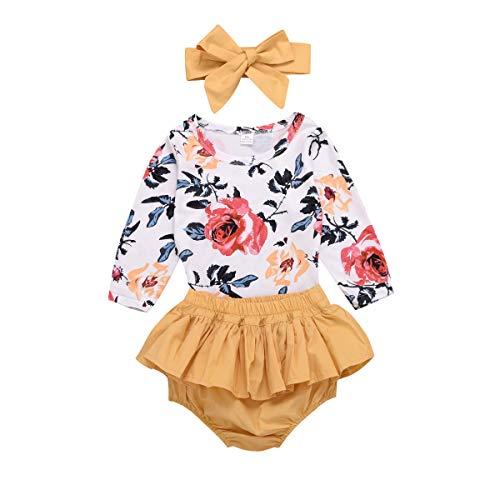 Newborn Baby Girls Clothes Sets Summer Floral Long Sleeves T-Shirt + Yellow Shorts + Headband 3Pcs (Yellow, 0-6 Months)