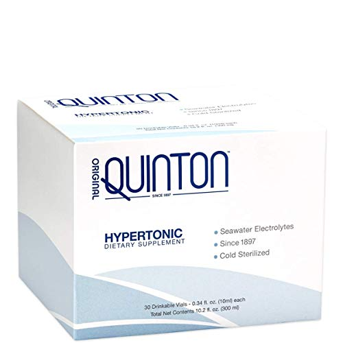 Original Quinton Hypertonic - Concentrated + Pure Seawater Electrolyte Liquid Minerals for Athletic Performance + Energy Support, Marine-Rich Complex (30 Single Serving Vials) (Best Isotonic Drink Powder)