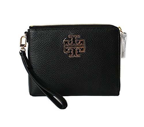 Tory Burch Britten Large Pebbled Leather Zip Pouch Wristlet (Black) by Tory Burch