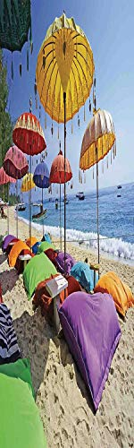 - Balinese Decor 3D Decorative Film Privacy Window Film No Glue,Frosted Film Decorative,Pristine Beach Bathed by The Bali Sandy Seashore Daytime Umbrellas Pillows Leisure,for Home&Office,23.6x70.8Inch
