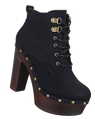 38 36 Damen 40 41 39 Beige Stiefeletten Schuhe Plateau Boots Heels Schwarz High 37 Braun Schwarz zOxzPqrF