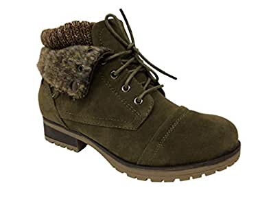 REFRESH WYNNE-01 Women's Combat Style lace up Ankle Bootie (5.5, Olive Suede)