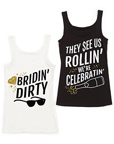 [Funny Bridin' Dirty Bachelorette Party Shirts - bride shirts - bachelorette accessories (XL, Black - They See Us Rollin' We're] (90s Theme Party Outfits)