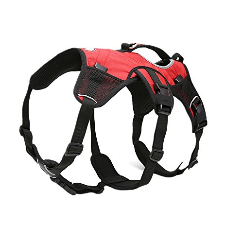 Pettom Dog Backpack Adjustable Saddlebag Outdoor Travel Pet Bag Made of Waterproof Oxford Material- Used As Dog Vest Harness As Well (Red,Large)