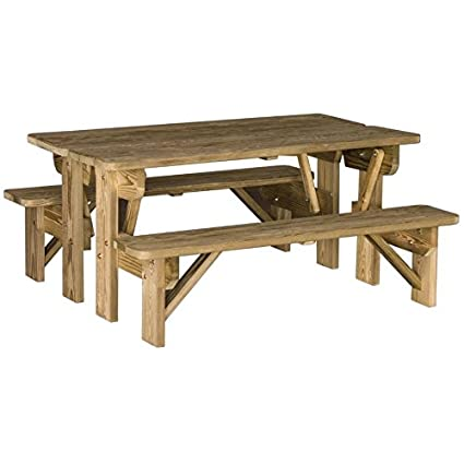 Tremendous Amazon Com Luxcraft Pressure Treated Wood Bench Table Spiritservingveterans Wood Chair Design Ideas Spiritservingveteransorg