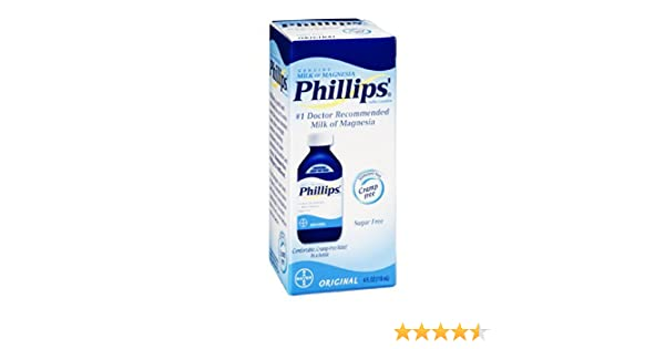 Amazon.com: Philips Milk of Magnesia Saline Laxative Original Sugar Free, 4 oz: Health & Personal Care