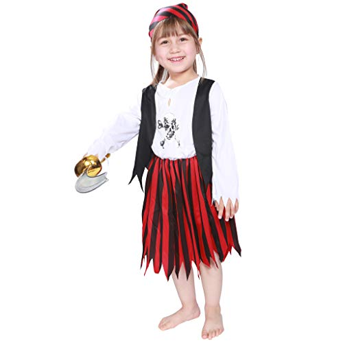EraSpooky Girl's Pirate Costume Kids Halloween Costumes Girls Dress Up Pirate Suit - Funny Cosplay Party]()
