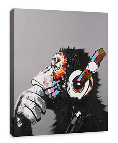 - Modern Pop Art Decor - Framed - Thinking Monkey with Headphones Canvas Print Home Decor Wall Art, Gallery Wrap Inner Frame, 24x30