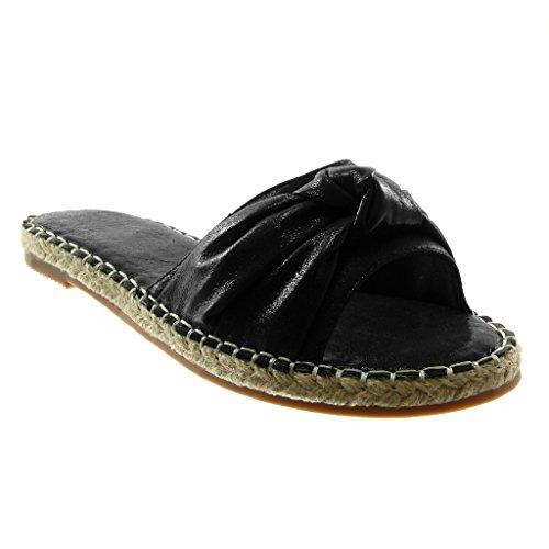 chaussures Noeud Slip 2 pour Mules bloc femmes Talon brillant cm on Nœud noir mode Angkorly Cordon Hq8wH