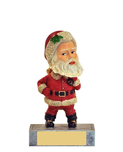 Santa Claus Bobble Head Trophy with 3 lines of custom text (Santa Bobble Head)