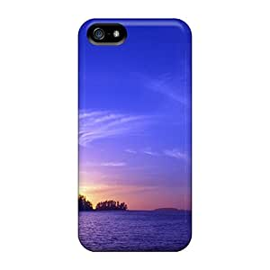 Unique Design Iphone 5/5s Durable Tpu Case Cover Mostly Blue Sunset On A Lake