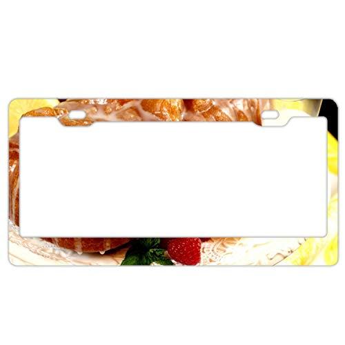 License Plate Frame, Car Tag Frame, Food Sweets Cake Rolls Jam Lemon Raspberry Milk License Plate Holder, Fashion License Plate ()
