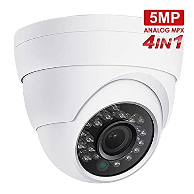 5MP Dome Security Camera Anpvees Hybrid HD 1080P 4 in 1 TVI/CVI/CVBS/AHD Security Cameras, Waterproof Outdoor/Indoor Day & Night Vision 3.6mm Lens for CCTV Camera System-White from AC3152-W