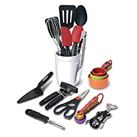Farberware Classic 17-Piece Tool and Gadget Set 25 KITCHEN ESSENTIALS: The Farberware 21-Piece Tool and Gadget Set features all the essentials anyone would need to complete everyday kitchen tasks in an organized crock. SET OF 21: The set includes a turner, slotted turner, basting spoon, small spatula, spoon spatula, pie cutter, whisk, set of 4 measuring cups and a set of 4 measuring spoons. DRAWER KITCHEN ESSENTIALS: The set also includes a can opener, peeler, kitchen shears, winged cork screw, and a pair of tongs; all essentials that live in your kitchen drawers.