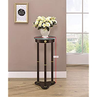 Marble Top Round Plant Stand Merlot and Green: Kitchen & Dining