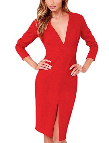Woman Red K Split Hem Neck Deep Sheath V Dress Allegra Long Sleeve wfCq1x5