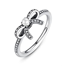 PAHALA 925 Sterling Silver Bow-Knot With White Pearl Crystal Cubic Zirconia Pave Wedding Engagement Band Ring
