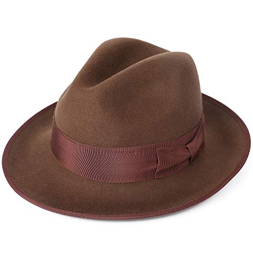 Janetshats Men's Dress Wool Felt Fedora Hat Roll up Brim Gangster Bow Belt ()