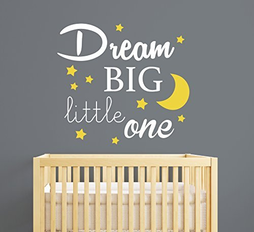 Dream Big Little One Quote Wall Decal Quote Baby Room Decor - Nursery wall decals ukbaby nursery wall decor uk baby room wall art uk grey and yellow