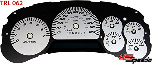 US Speedo TRL062 - Daytona Edition Gauge Faces - Silver / Blue Night - 120 MPH - for: Chevy Trailblazer, Envoy