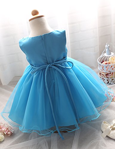 NNJXD Girl Flower Sequin Princess Tutu Tulle Baby Party Dress Size 10-18 Months Blue