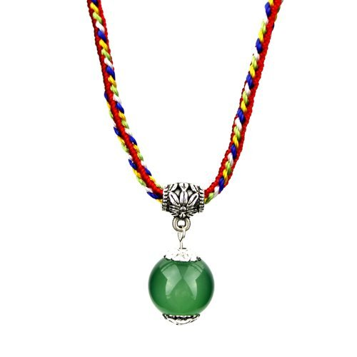 3A Green Agate 12mm Bead Mobile Phone Pendant Bracelet Necklace Pendant Grounding Stone Protection ()