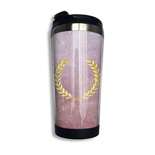 Coffee Travel Mug Textured Laurel Wreath Bottle Car Tumbler Cup Iced Tea Or Water Insulated Thermal Cup Stainless Steel for Hiking, Camping & Working