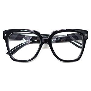 Retro Nerd Geek Oversized Eye Glasses Horn Rim Framed Clear Lens Spectacles (Black)
