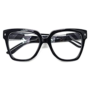 Retro Nerd Geek Oversized Eye Glasses Horn Rim Framed Clear Lens Spectacles