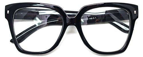Retro Nerd Geek Oversized Eye Glasses Horn Rim Framed Clear Lens Spectacles - Glass Rims