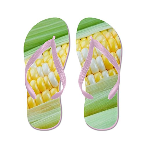 CafePress Corn Closeup - Flip Flops, Funny Thong Sandals, Beach Sandals Pink