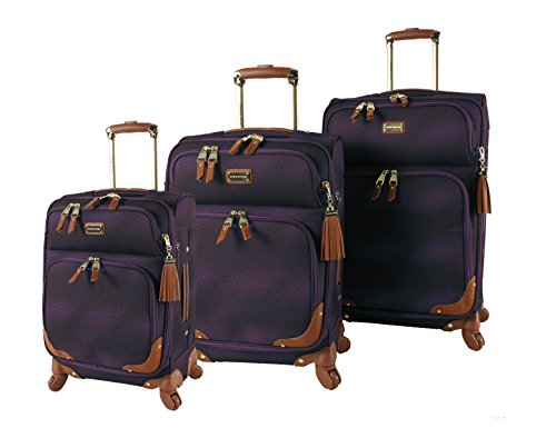 Steve Madden Luggage 3 Piece Softside Spinner Suitcase Set Collection (One Size, Shadow Purple) by Steve Madden Luggage