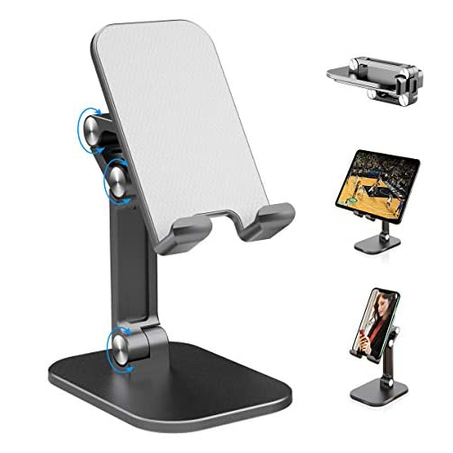 Cell Phone Stand, Maxjoy Foldable Portable Phone Holder for Desk, Adjustable Desktop Cell Phone Holder Compatible with… |