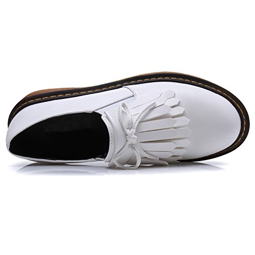 Smilun Lady¡¯s Brogues Classic Lace-up Flats Shoes for Autumn Winter Spring Slip On White Size 10 B(M) US by Smilun (Image #3)