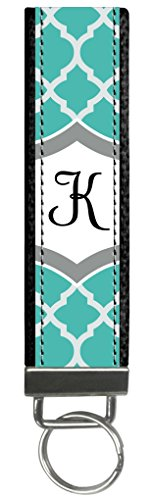 Snaptotes Teal Moroccan Design Monogram Wristlet Keyfob Keychain,Letter K by Snaptotes (Image #3)