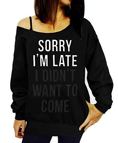 GSVIBK Women Loose Black Sweatshirts Sexy Off Shoulder Long Sleeve Printed Slouchy Shirt Wifey Pullover Tops Black 109-L