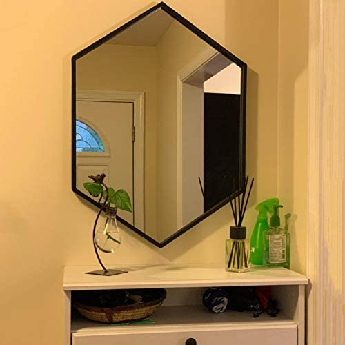 Womio Modern Wall Mirror 19.7″x 19.7″ Hexagon Bathroom Frame Mirrors,Wall-Mounted Dresser Home Decor,Black