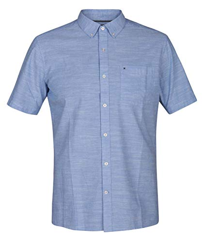 Shirt Down Oxford Sports Button - Hurley Men's One & Only 2.0 Short Sleeve Woven Blue Oxford Medium