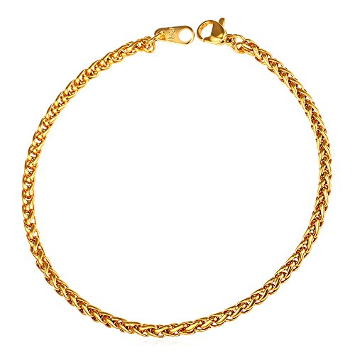 U7 3mm 18K Gold Plated Twisted Rope Wheat Chain Bracelet,8.3 Inches Length