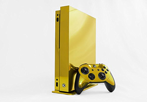 Microsoft Xbox One X Skin (XB1X) - NEW - GOLD CHROME MIRROR system skins faceplate decal mod (Gold Skin Xbox One)