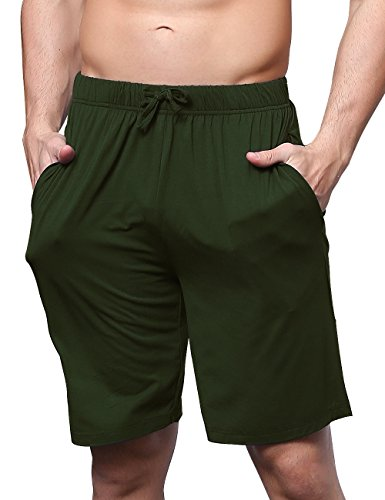 GYS Men's Bamboo Pajama Bottom Lounge Shorts (XL, Army Green)