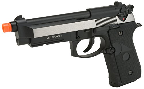 Evike - WE-USA NG3 M9A1 S.O.C. Special Edition Gas Blowback Airsoft Pistol - Two Tone/Brushed Aluminum - (34336)