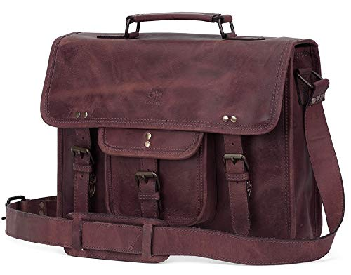 15 Inch Leather Vintage Rustic Crossbody Messenger Satchel Bag Gift Men Women ~ Business Work Briefcase Carry Laptop Computer Book Handmade Rugged & Distressed