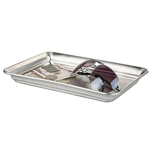 mDesign Storage Organizer Tray for Watches, Eyeglasses, Cologne - Brushed