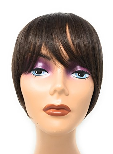 Hair Etc. One Piece Clip In Bangs - Real Natural Human Hair Blend Extension For Women Color (#8/6 Medium Brown W/ Highlights)