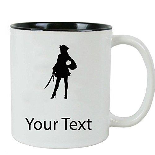 Personalized Custom Female Pirate 11 oz White Ceramic Coffee Mug with White Gift -