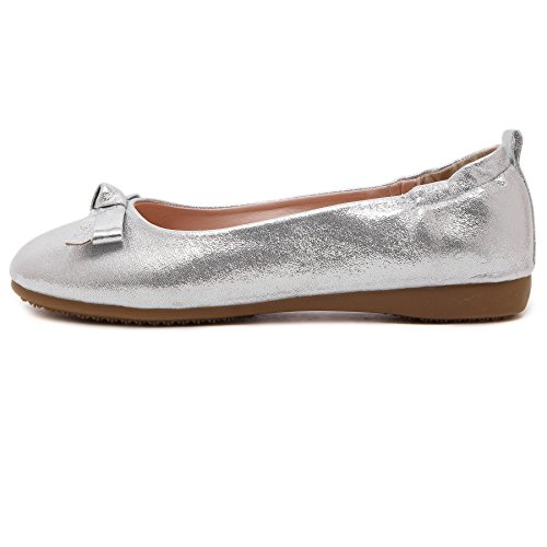 Smilun Silver Lady Tie Cover Elastic Ballerina Twinkling Heel Loafer Bow Flat rrAxvR7q