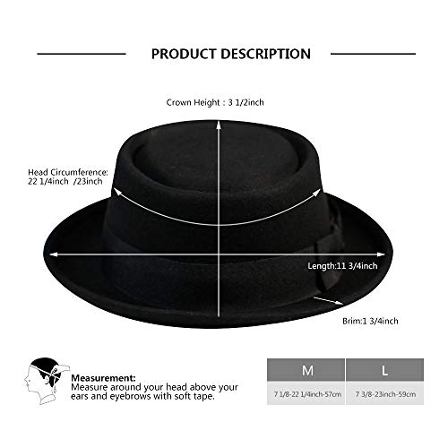 Pork Pie Hat-100% Wool Felt Men s Porkpie Hats Flat Mens Fedora Top Classic 568ce73eca61