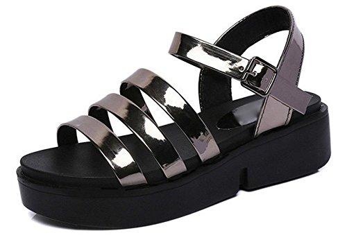 la decoración plana sandalias de las mujeres zapatos de las sandalias de la correa de cabeza redonda gun color