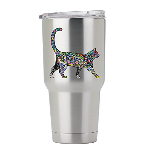 Cheerful Psychedelic Cat - 3 Inch Full Color Decal for Stainless Steel Tumbler - Proudly Made In The USA From Adhesive Vinyl (Tumbler NOT included) ()